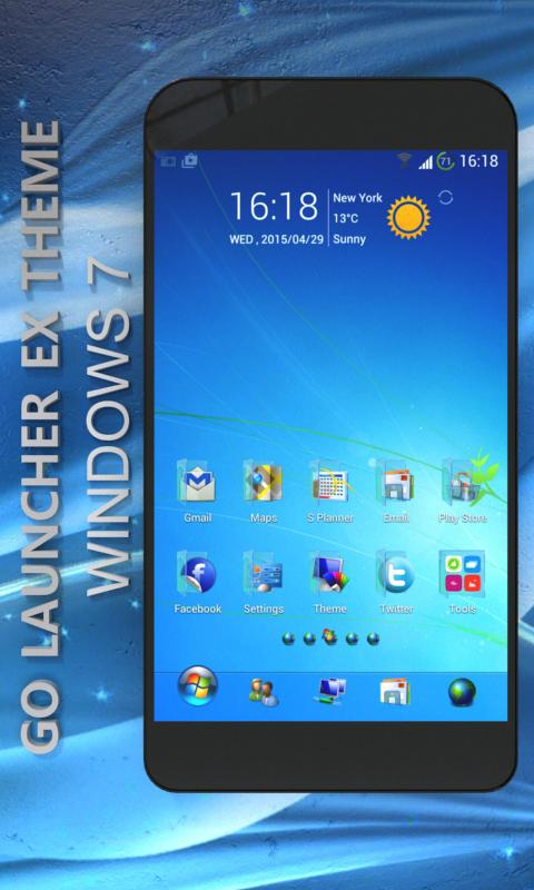 Blue Windows 7 GoLauncher Free- screenshot