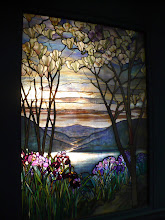 Photo: Magnolias and Irises.  Louis Comfort Tiffany (1848-1933). American, New York City.  Leaded favrile glass, ca. 1908.  http://www.metmuseum.org/Collections/search-the-collections/10010151