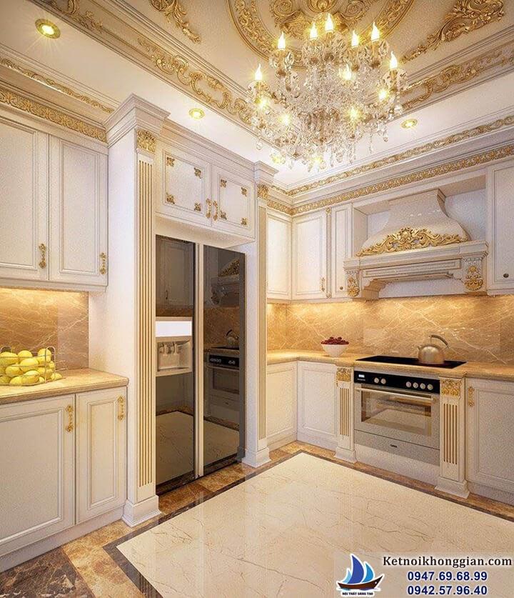 thiết kế nội thất phòng bếp phong cách hoàng gia