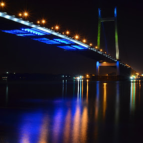 Pride of Bengal by Biswajit Chatterjee - Buildings & Architecture Bridges & Suspended Structures ( water, bridge, light, night shot, river )