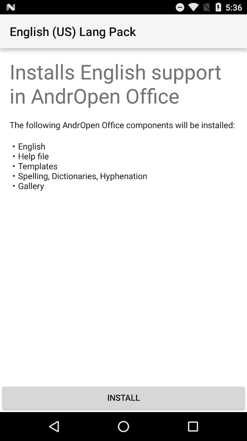 English (US) Lang Pack for AndrOpen Office- screenshot