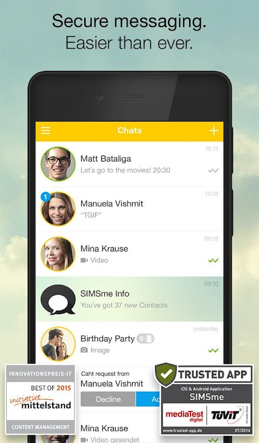 SIMSme – Your secure messenger - screenshot