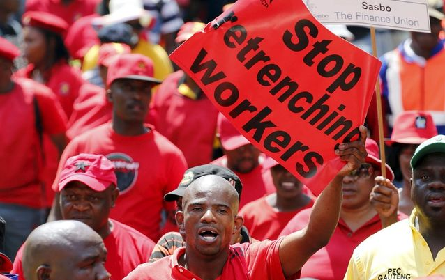 Union members during a protest in Johannesburg. Fawu is poised to split with Cosatu, sources say. Picture: REUTERS/SIPHIWE SIBEKO