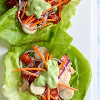 Tuna Lettuce Wrap with Avocado Yogurt Dressing.