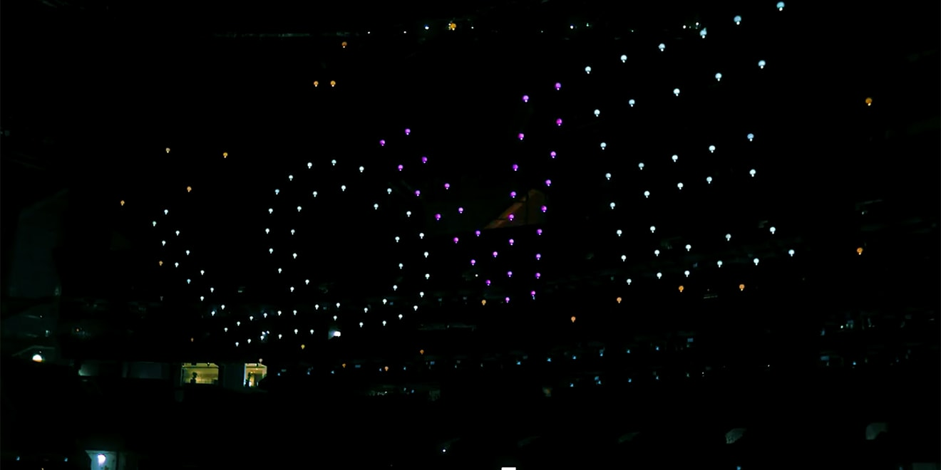 The Shooting Star drones forming the word 'LOVE' during NFL.