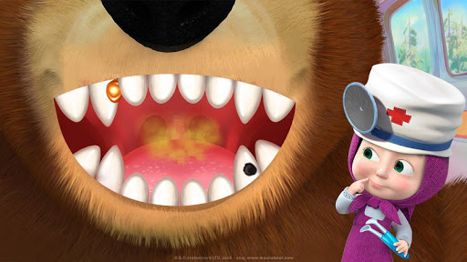 Masha and the Bear: Free Dentist Games for Kids apkpoly screenshots 4