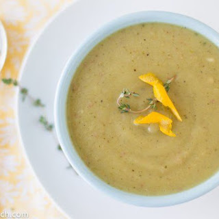 Creamy Potato, Leek and Roasted Poblano Pepper Soup.