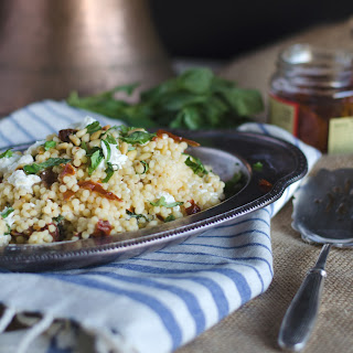 Israeli Couscous with Sun Dried Tomatoes, Basil and Goat Cheese