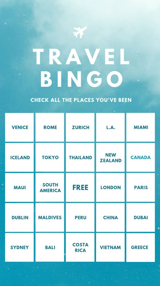 Travel Bingo - Facebook Story Template