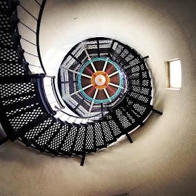 Light me up! by Brandon Chapman - Abstract Patterns ( stairs, patterns, santa barbara, swirly, lighthouse, rusty's pizza, iron )
