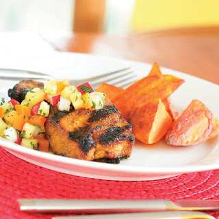 Caribbean Grilled Pork, Chicken or Turkey with Pineapple Salsa.