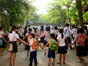 Photo: A school by my hotel was closing for the day when I walked by.  I loved how they were all holding hands.
