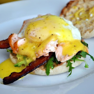 Sautéed Verlasso Salmon Eggs Benedict on Toast with Crispy Bacon