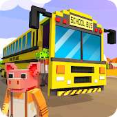 Mr. Blocky School Bus Driver: American Highschool