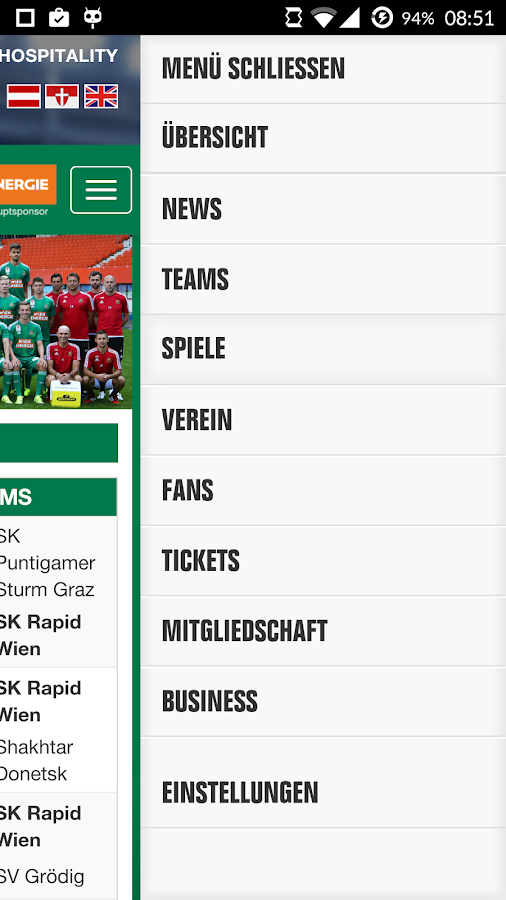 SK Rapid App- screenshot