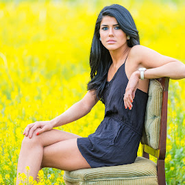 Vicky Sitting in Chair In Yellow Field by Carl Albro - People Portraits of Women ( field, chair, woman, beauty, portrait )