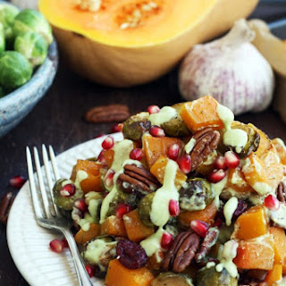 Roasted Brussels Sprouts with Butternut Squash.