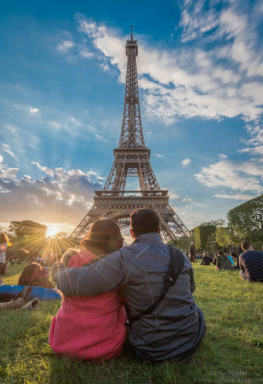 Watching the sun set behind the Eiffel Tower