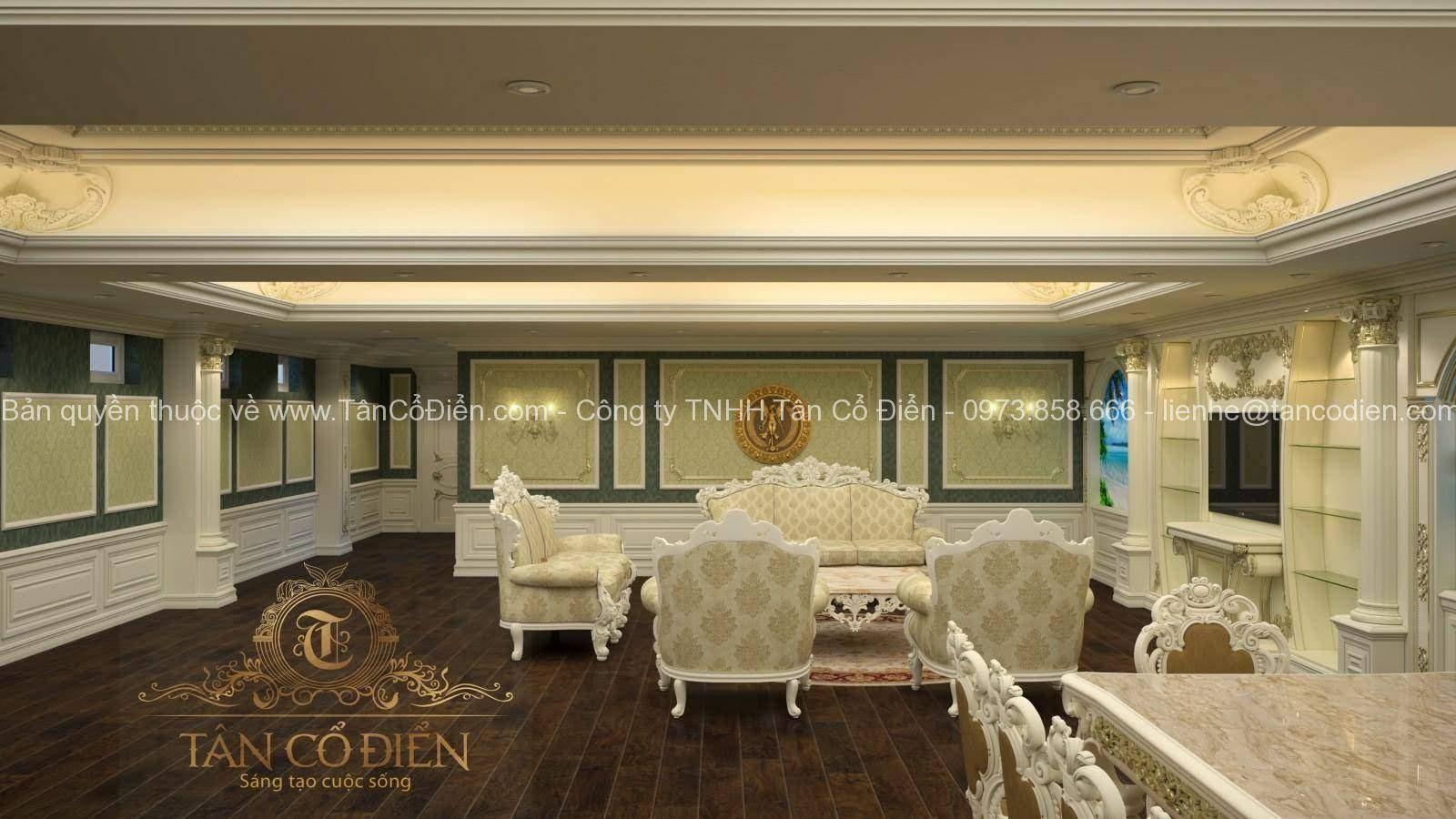 Thiết kế biệt thự phòng khách mang phong cách cổ điển