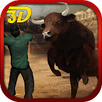 Bull Attack Run Simulation 3D Icon