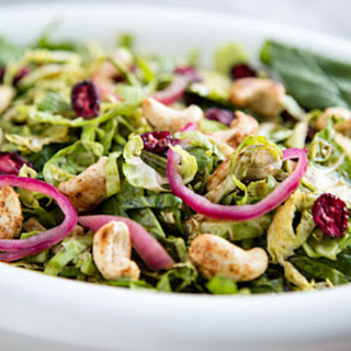 Shredded Brussels Sprouts Salad with Dried Cranberries and Cashews Recipe