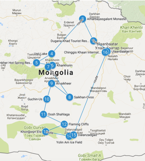 Carte circuit Mongolie