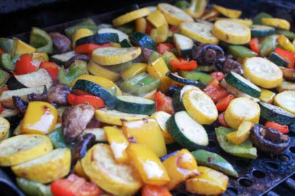 Balsamic Grilled Vegetables On A Grill.