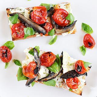 Blistered Tomato, Portobello, and Feta Sandwiches