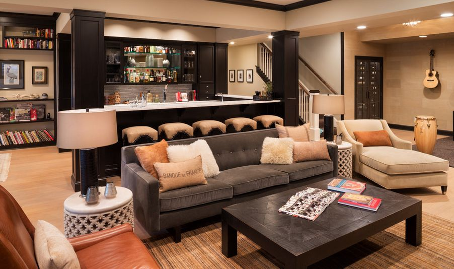 huge basement area with full wet bar and lounge area with couches and coffee table