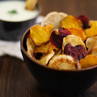 Baked Root Vegetable Chips with Buttermilk-Parsley Dipping Sauce.