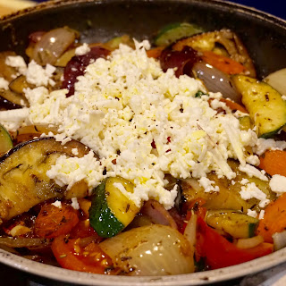 Healthy dinner: Roasted vegetables with Feta (goat) cheese recipe