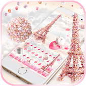 Pink Paris Rose Keyboard Theme - Rose EiffelTower