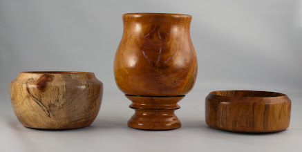 Photo: Lou Berson - assorted vessels [Cuban mahogany, Norfolk island pine]