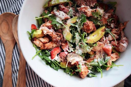 Summer Strawberry Chicken Salad with Honey Lime Yogurt Dressing