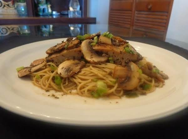 Asian Flavored Angel Hair Pasta With Mahi Mahi And Mushroom.
