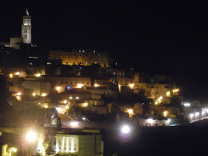 Photo: Matera at night, from our hotel's breakfast area