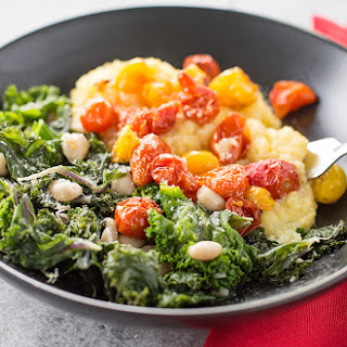 Parmesan Polenta Bowl w/ Roasted Tomatoes, Greens and Beans