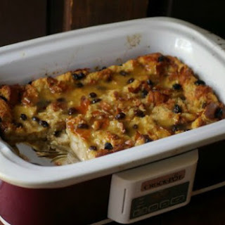 Slow Cooker Bread Pudding with Southern Bourbon Sauce.