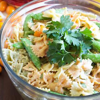 Hummus Dressing Pasta Salad.
