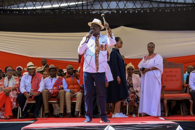 ODM leader Raila Odinga during the BBI forum in Narok on Saturday, February 22, 2020.