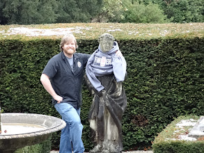 Photo: Tim wraps his Oskar Blues hoodie around one of the Thornbridge statues.