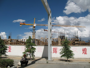 Photo: Construction on the way to Lhasa.  It seemed like a lot of construction until we got to Beijing.