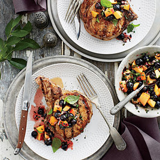 Grilled Pork Chops with Blueberry-Peach Salsa Recipe