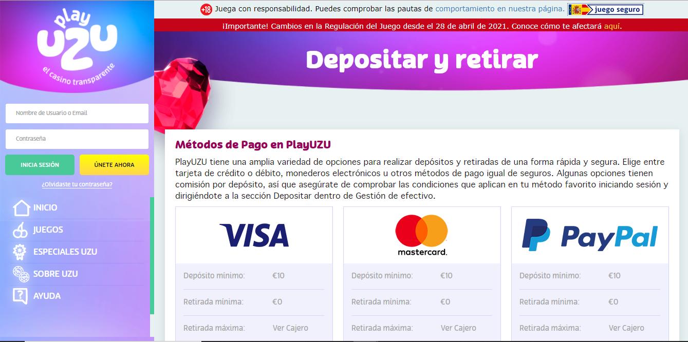 Payment Methods Available on PlayUZU Casino