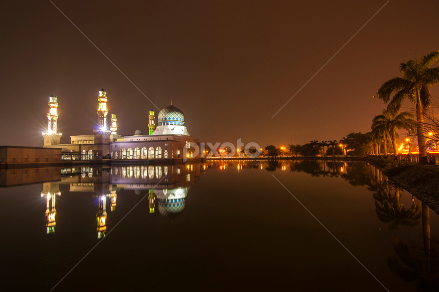 KK City Mosque  by Fredzex Foo - Buildings & Architecture Places of Worship ( religion, mosque, floating, reflections, night, places, worship, city )