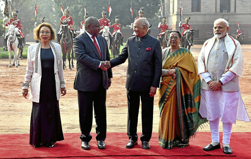President Cyril Ramaphosa and his wife Dr Tshepo Motsepe are welcomed to the Presidential Palace in New Delhi this week by, from left, India's President Ram Nath Kovind, his wife Savita Kovind and Prime Minister Narendra Modi as the South African president began his state visit to India.