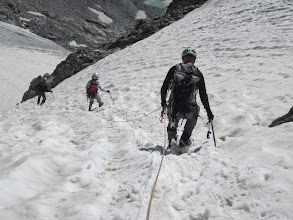 Photo: Berschund and snow bridge just below Bob, our last major obstacle.