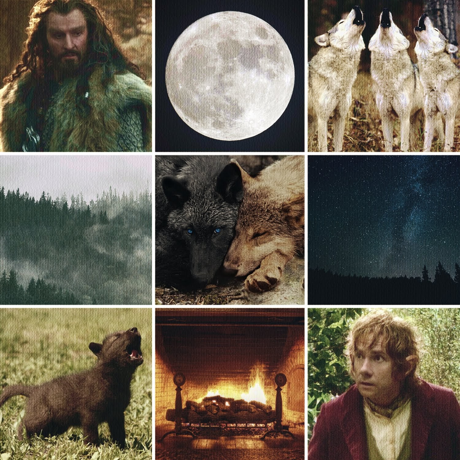 Moodboard with wolves and Thorin and Bilbo