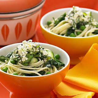 Spaghetti with Peas, Zucchini and Ricotta Recipe