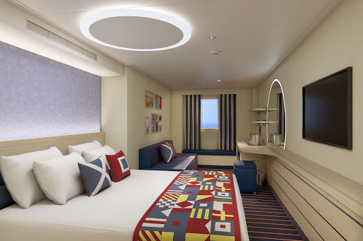 The Family Harbor staterooms on Carnival's Mardi Gras offer an array of accommodations with a modern motif (rendering).